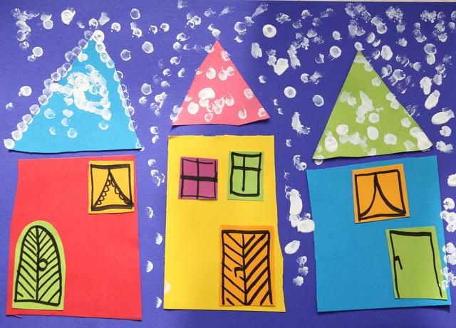 Basteln mit kindern schneebild oder hurra es - Winter basteln im kindergarten ...