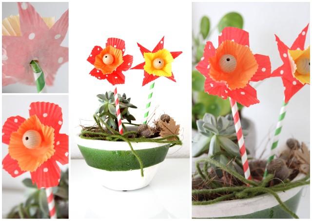 basteln mit kindern papierblumen aus muffinf rmchen. Black Bedroom Furniture Sets. Home Design Ideas