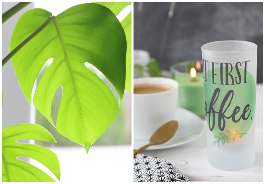 Fotogeschenke DIY Geschenkidee Teelichthalter Teelichtglas But first Coffee selbstgemacht