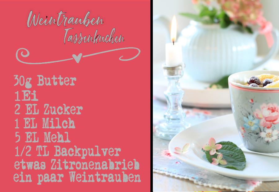 Rezept Weintrauben Tassenkuchen mit Greengate