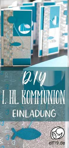 Einladung zur Kommunion basteln, DIY, Einladung, 1. hl. Kommunion, Jungs, Jungen, Anleitung, Vorlage, Petrol, Silber, Weiß, Türkis, Hellblau